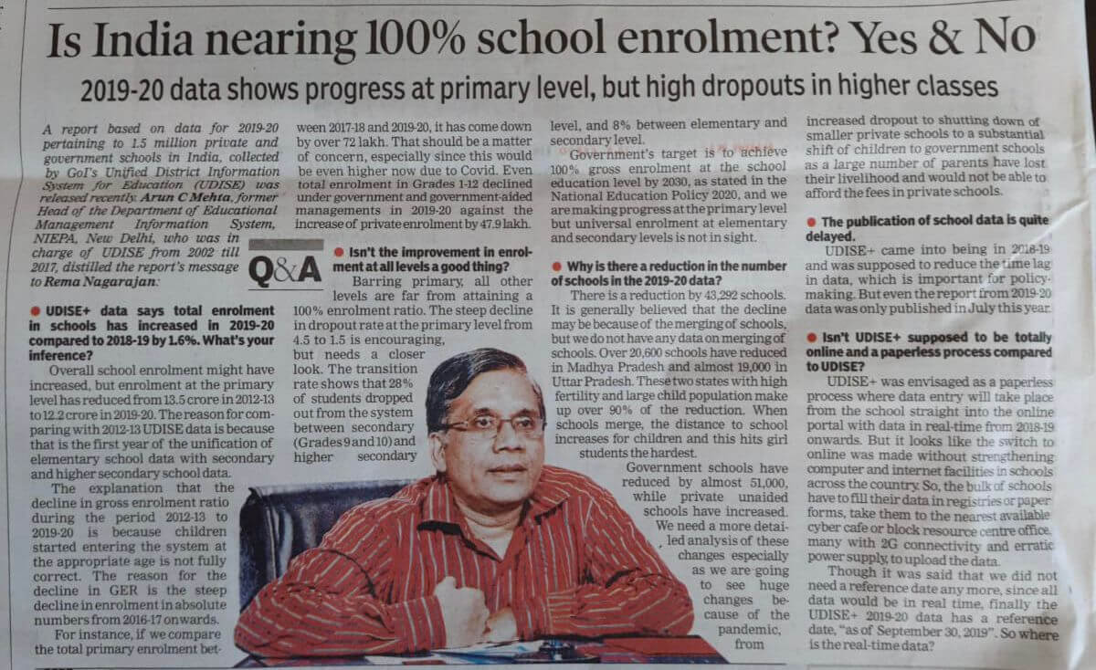 Interview of Prof. Arun C Mehta in Times of India, New Delhi 21st September 2021